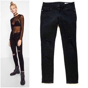 Zara Denim Z1975 Black Ripped Knee Jeans